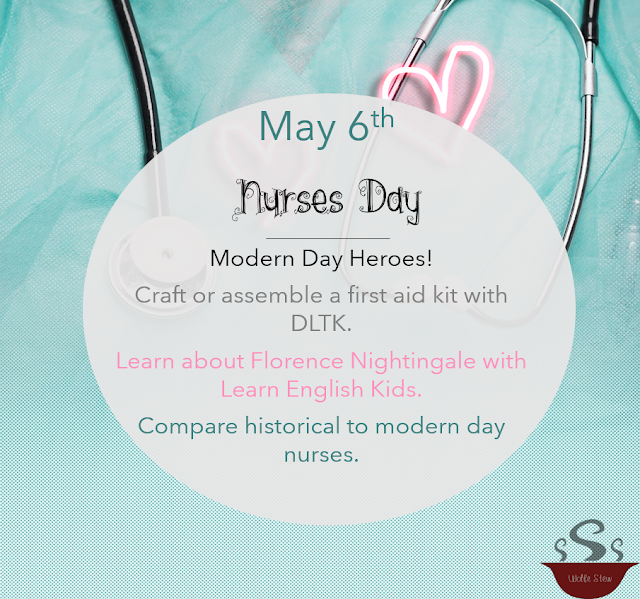 Learn about these modern heroes on May 6, 2020, by assembling a first aid kit, learning about Florence Nightingale or comparing present day and historical nurses.
