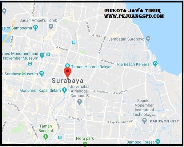 ibu kota jawa timur pada peta (surabaya)