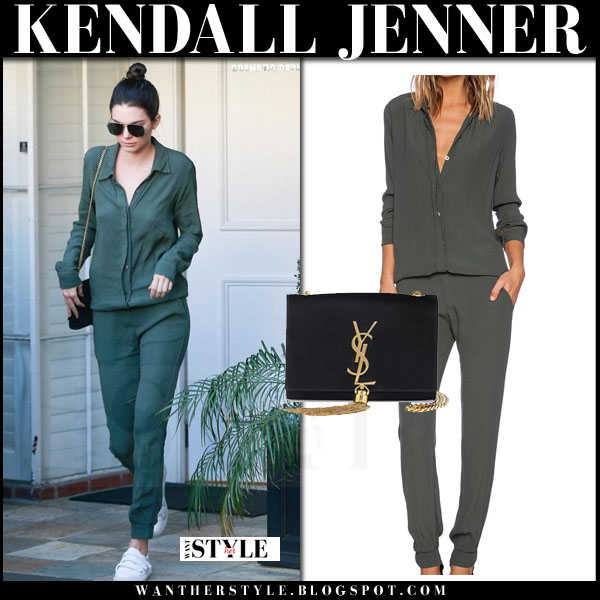 Kendall Jenner in army green jumpsuit monrow what she wore streetstyle