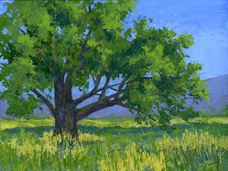 art painting landscape oak tree open land ranch Utah