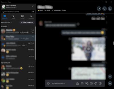 Skypen käyttöliittymä työpöytäympäristössä.