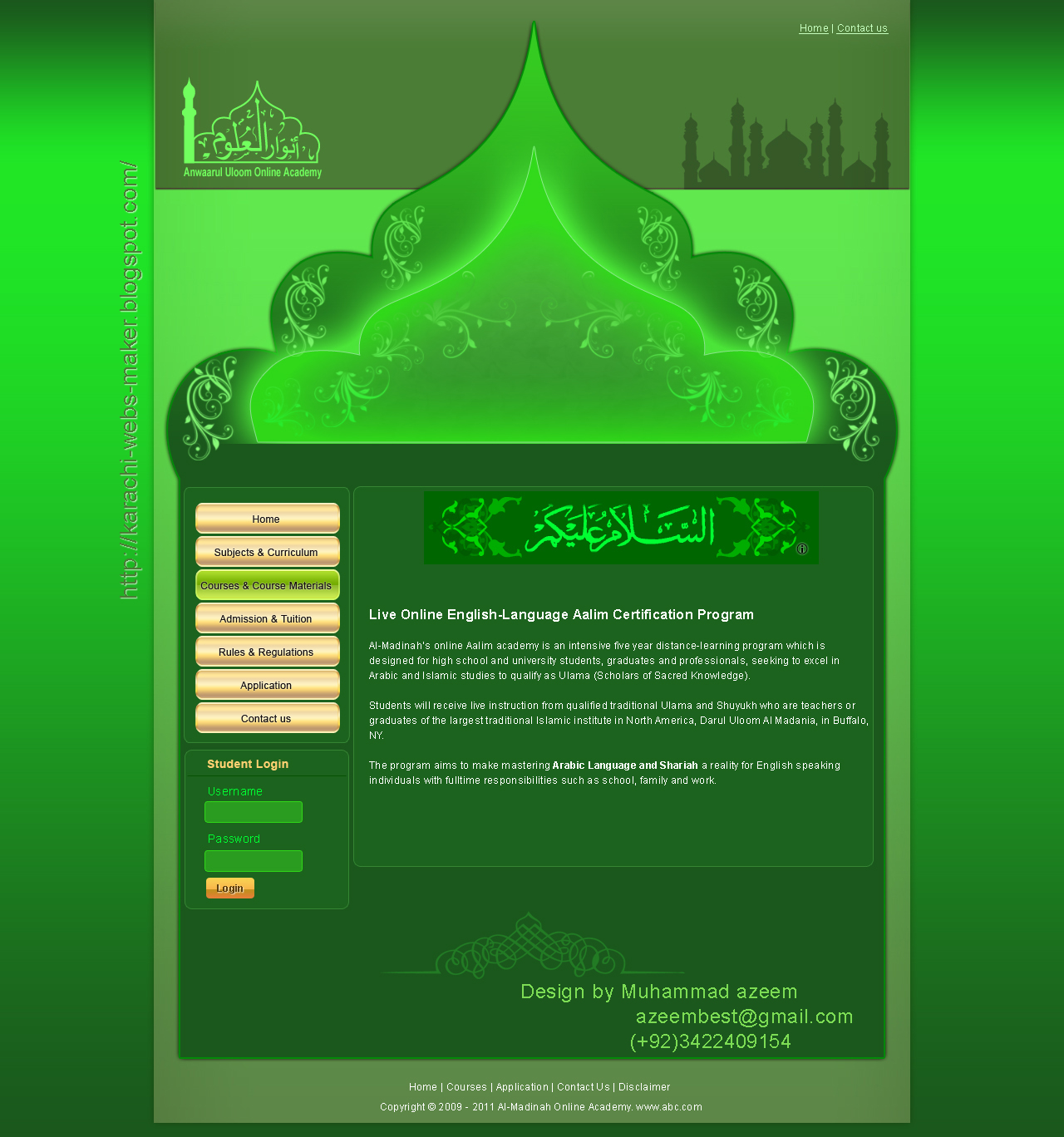 Call Text WhatsApp To Web Design 03422409154 Islamic Web Template