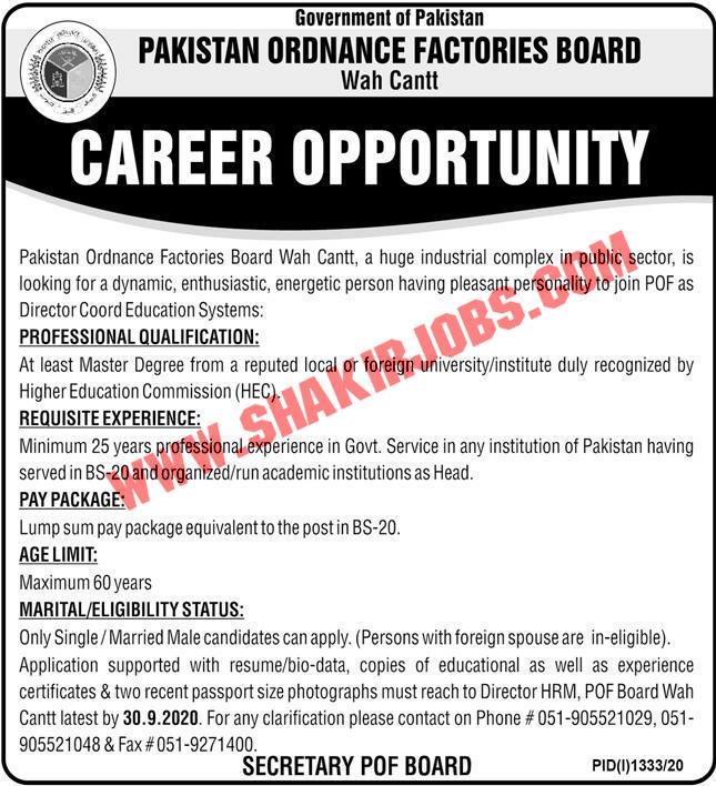 Jobs in POF Wah Cantt Jobs September 2020