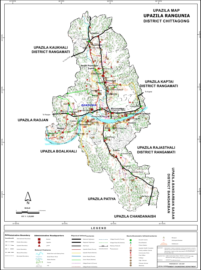 Rangunia Upazila Map Chittagong District Bangladesh