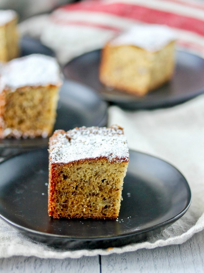 Banana After School Snack Cake squares