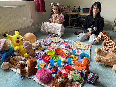 Teddy bears picnic with children