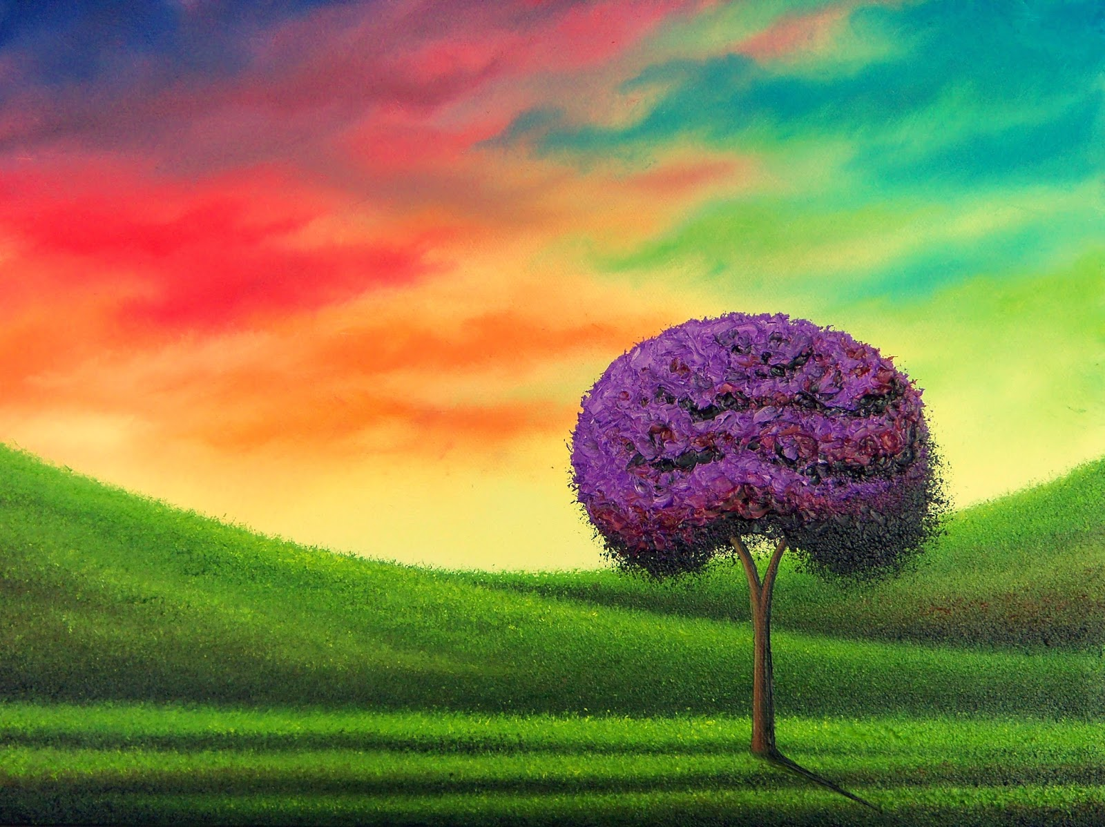 Purple Tree Art Sunset Landscape Painting Contemporary 12 X 16 Original Oil