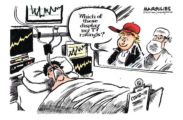 Donald Trump looking through glass wall into hospital room at patient surrounded by monitoring equipment and displays.  Trump asks doctor,