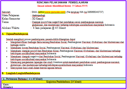 Contoh RPP 1 Lembar ANTROPOLOGI SMA/SMK Kelas 11  Semester 1