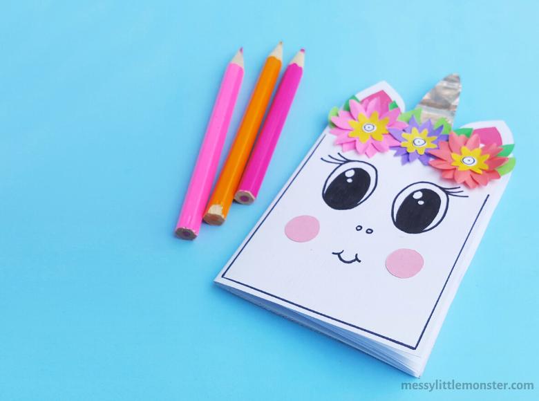 DIY notebook unicorn craft for kids