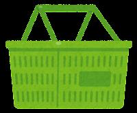 買い物かごのイラスト(緑)