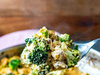 One Pan Cheesy Cauliflower Rice with Broccoli and Chicken
