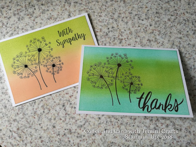 Coffee and card design with Dandelion Wishes, Stampin Up!