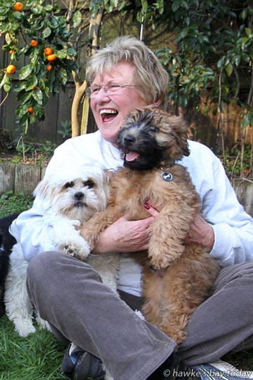 Lorraine Lennox, Taradale, Napier, with some of her dog friends. photograph