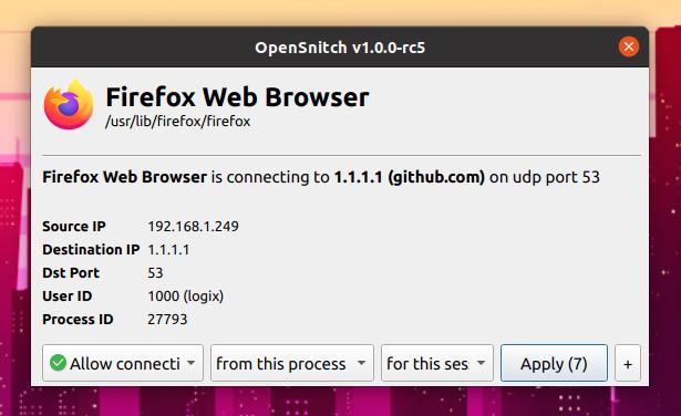 OpenSnitch Linux uygulaması güvenlik duvarı istemi iletişim kutusu