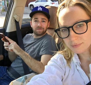 Anna Konkle clicking selfie while siting in car with future spouse Alex