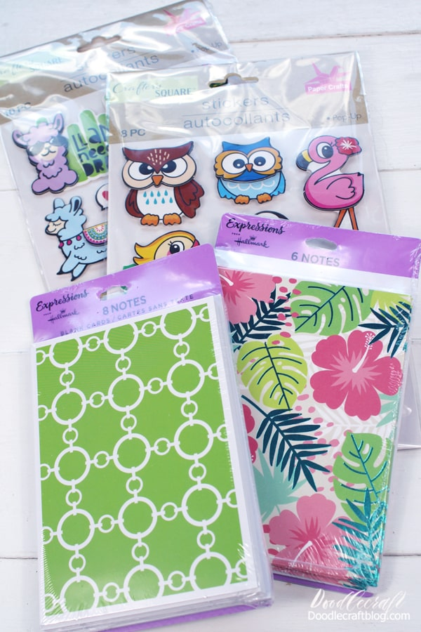 I bought 2 packages of cards and 2 sets of stickers. I love the bird stickers and the tropical vibe!