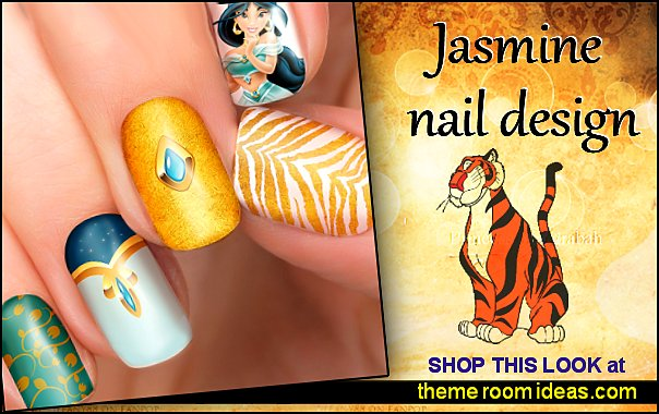 Jasmine Disney nail transfers - illustrated nail art decals - Jasmine Princess - Disney nail stickers