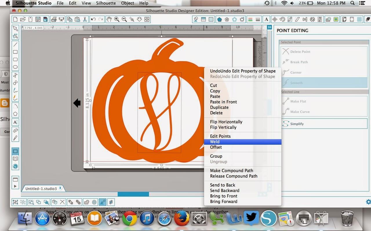 Monogram, pumpkin, Silhouette Studio, Silhouette tutorial, weld