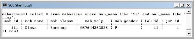 Kelas Informatika - Select Data Mahasiswa dengan Akhiran A dan Huruf Ke-3 Huruf N