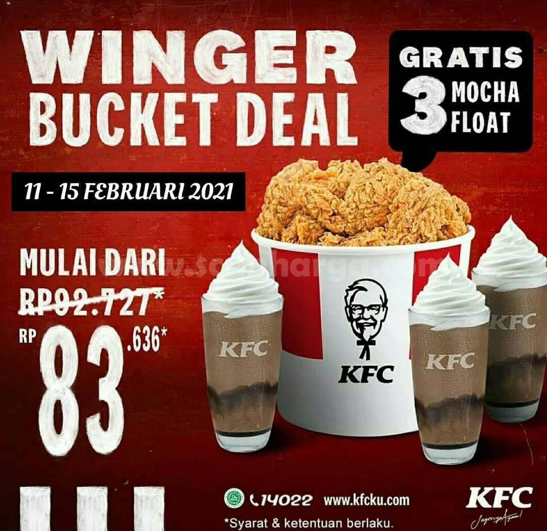 KFC Promo WINGER BUCKET DEAL! harga mulai Rp 83.636 + GRATIS 3 Mocha Float