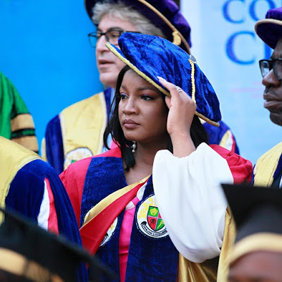 Igbinedion Varsity Awards Omotola Honorary Doctorate Degree, Goodluck & Wife Present