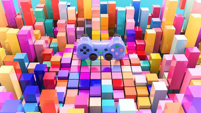 Papel de Parede 3D Joystick Cubos Coloridos