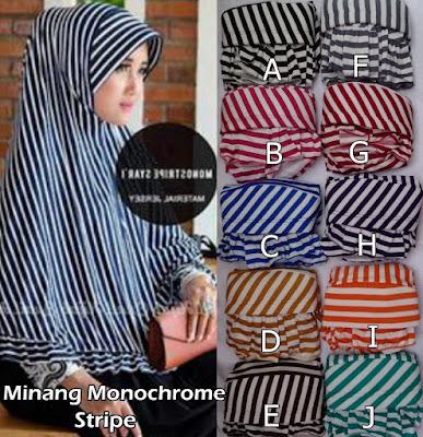 Grosir Jilbab Minang Monochrome Stripe