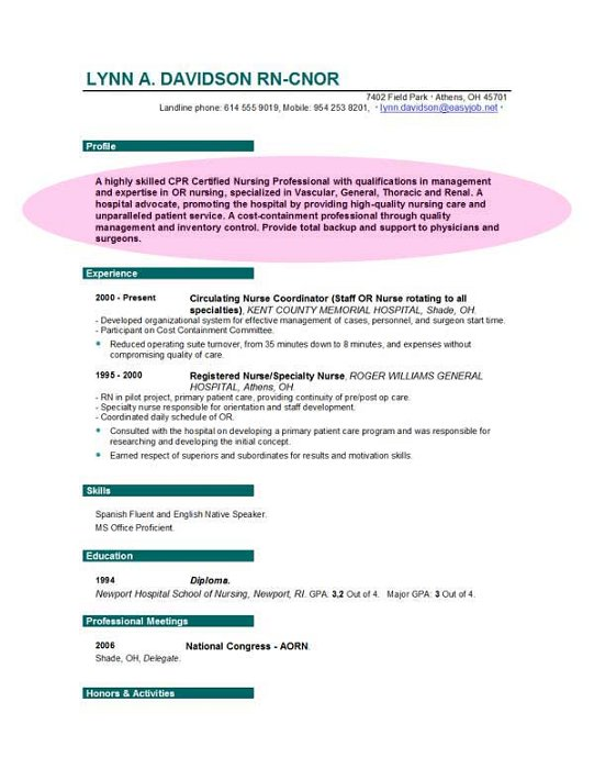 Nursing Resume Objective Nurse