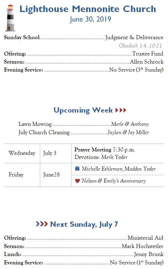 Lighthouse Mennonite Church Bulletins: 2019