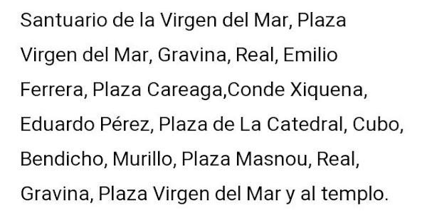 Itinerario de la procesión de la Archicofradía del Rosario de Almería