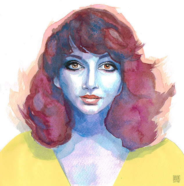 kate bush portret portrait watercolor akwarela kolaż collage urbaniak katarzyna
