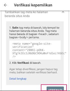 mengaitkan blog ke search console
