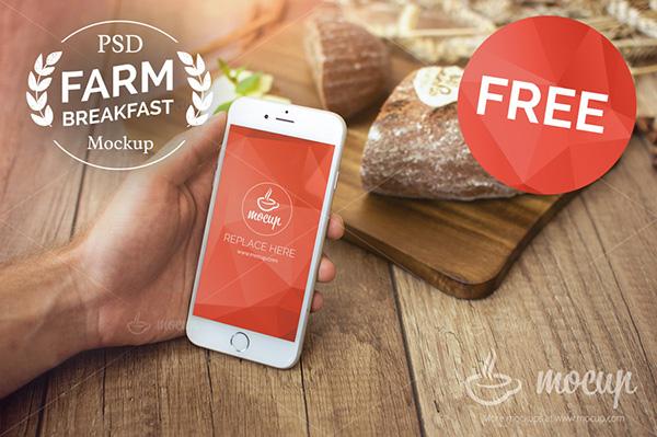 Smartphone & Tablet Mockup PSD Terbaru Gratis - Free Farm Breakfast iPhone 6 Mockup