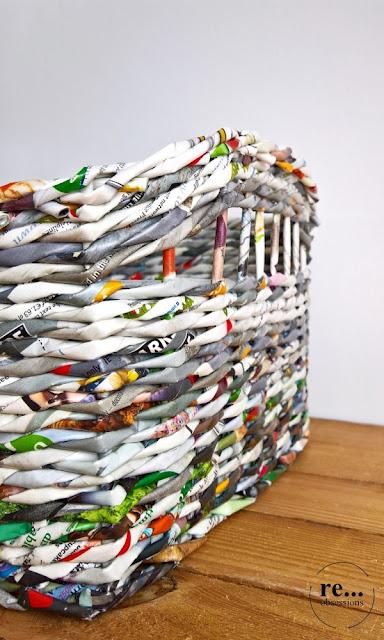 newspaper weaving, wicker paper, paper, basket, recycle, papierowa wiklina, koszyk
