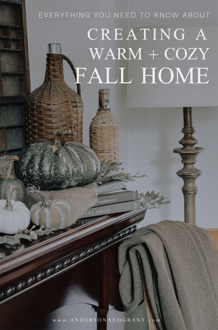 Nine simple tips for creating a warm and cozy fall home with a neutral rustic feel.