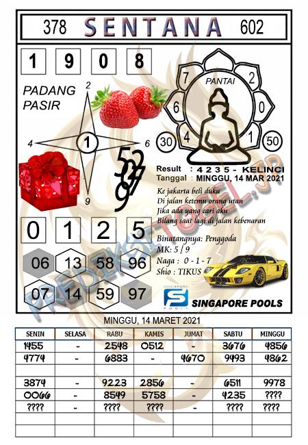 Syair Sentana SGP Minggu 14-Mar-2021