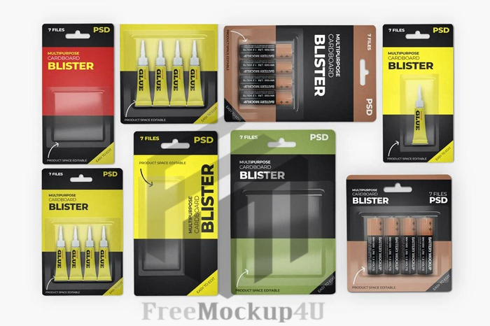 Multipurpose Hanging Cardboard Blister Mockup Bundle Pack