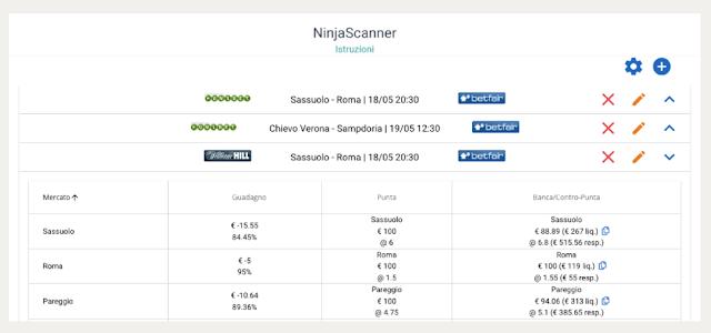 il NinjaScanner: strumento per le partite Live o PreMatch