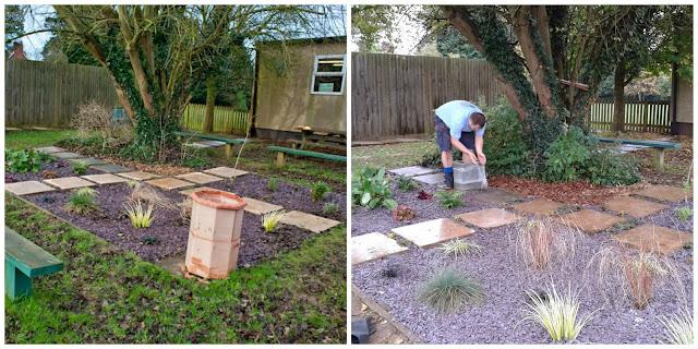 Adding slate to a garden area