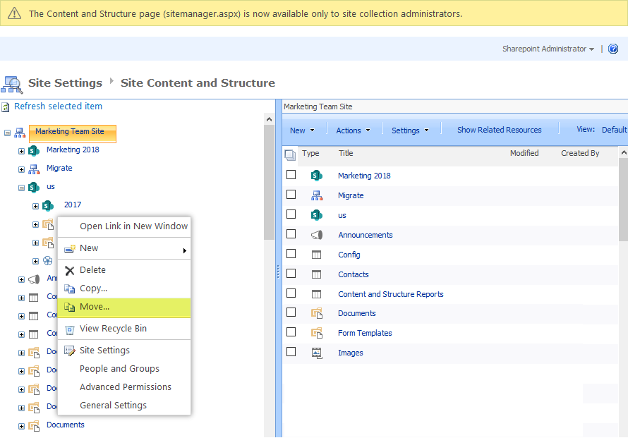 sharepoint online move subsite to another site