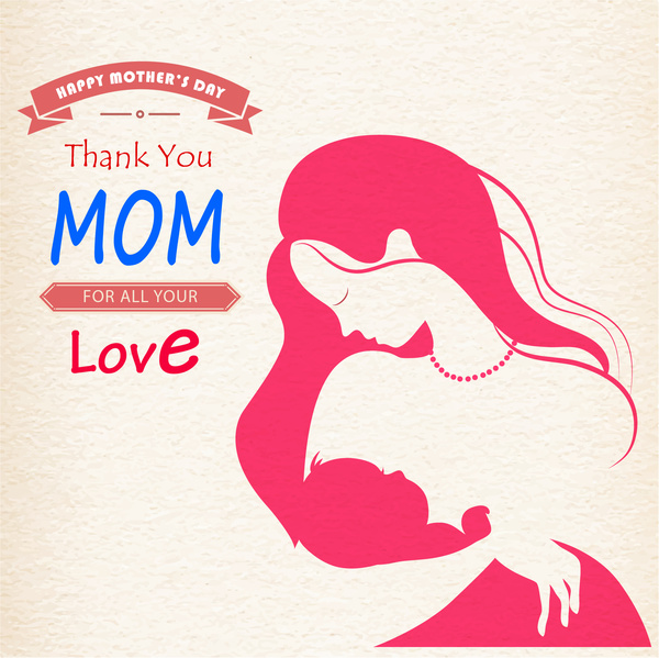 Mom hold baby happy mother day Free vector