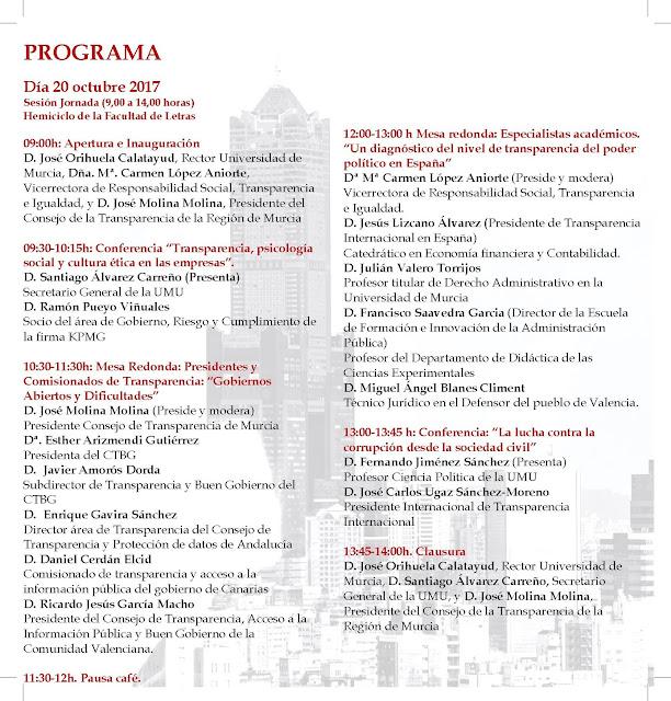 """II Jornada: """"Retos para una Sociedad Transparente"""". Programa"""