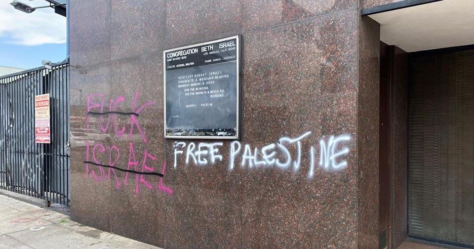 La Synagogue Vandalized With Free Palestine Fuck Israel