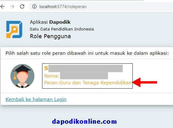 Klik pada area role peran pengguna dapodik