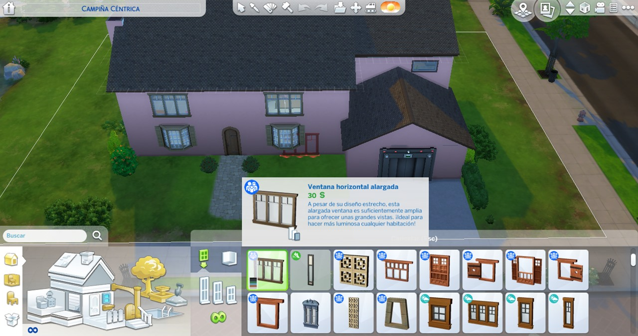 Elongated Horizontal Window in The Sims 4