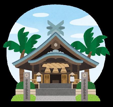 ハワイ出雲大社のイラスト(背景あり)