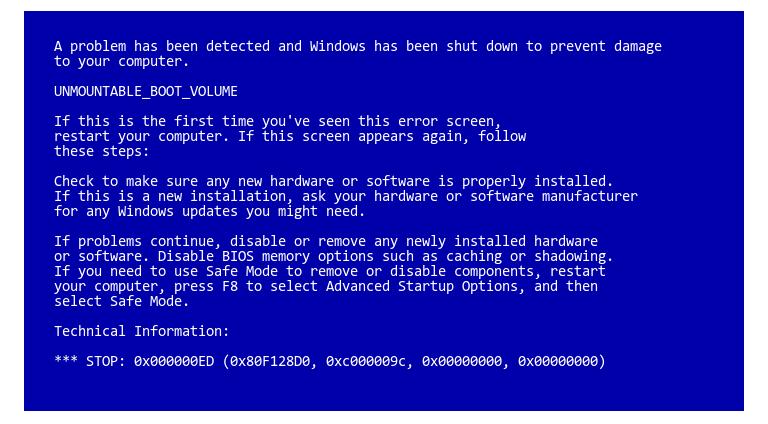 حل-مشكلة-الشاشة-الزرقاء-0x000000ED-Unmountable-Boot-Volume