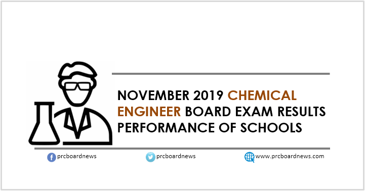PERFORMANCE OF SCHOOLS: November 2019 Chemical Engineering board exam result