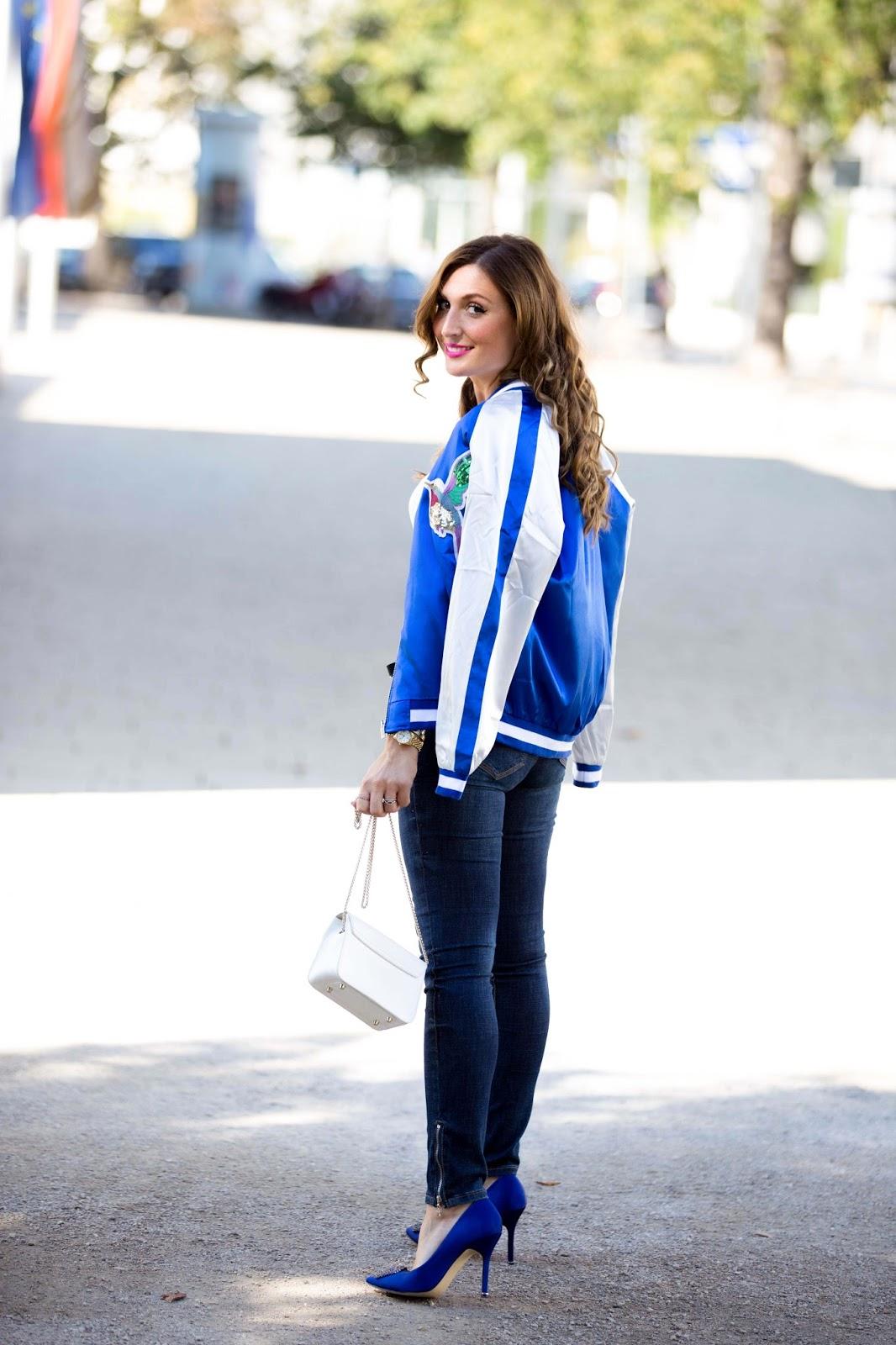 Manolo Blanik Shuhe - Blaue Manolo Blanik Schuhe kombinieren Bomber Jacke - Blaue Jacke - Blaue Sheinside Jacke wie Olivia Palermo - Olivia Palermo Stil - Fashionstylebyjohanna-Herbstlook Blogger-fashionblog-frankfurtmurtblogger-fashionblogger-